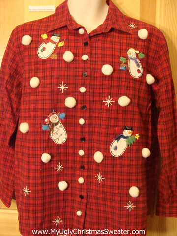 Tacky Cheap Christmas Red Shirt with Snowman