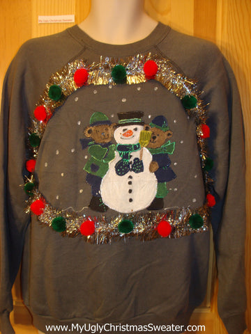 Tacky Cheap Christmas Sweatshirt Bears Garland Snowman