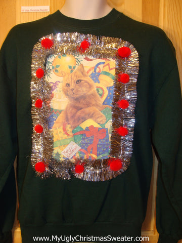 Crazy Cat Lady Tacky Cheap Christmas Sweatshirt