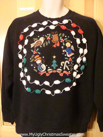 Tacky Cheap Christmas Sweatshirt Bird Angel PomPom
