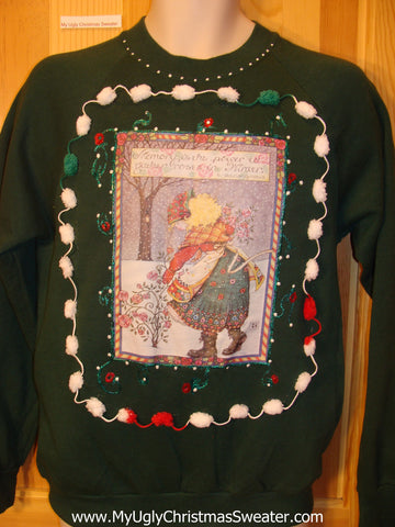 Tacky Cheap Christmas Sweatshirt Old Lady and Roses