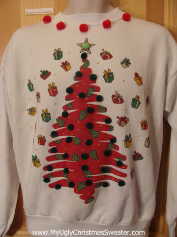 Tacky Cheap Christmas Sweatshirt Tree Gifts PomPoms