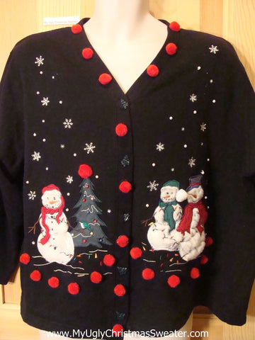 Tacky Cheap Christmas Sweatshirt Snowmen and PomPoms