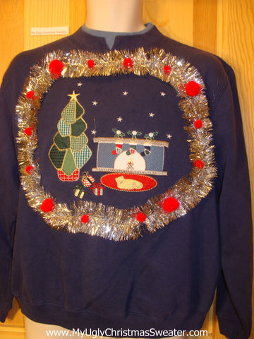 Tacky Cheap Christmas Sweatshirt Cat Fireplace