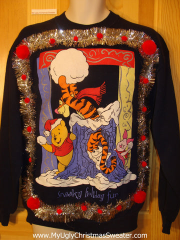 Tacky Christmas Sweatshirt Winne The Pooh Tigger 3D PomPoms