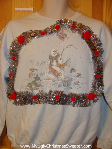 Tacky Cheap Christmas Sweatshirt Snowman and Animal Friends