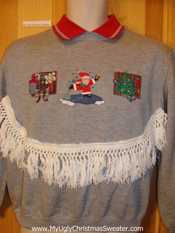 Tacky Cheap Christmas Sweatshirt Santa Horrible Fringe
