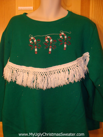 Tacky Cheap Christmas Sweatshirt Candycanes Fringe