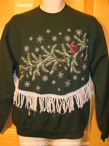 Tacky Cheap Christmas Sweatshirt Red Cardinal with Fringe
