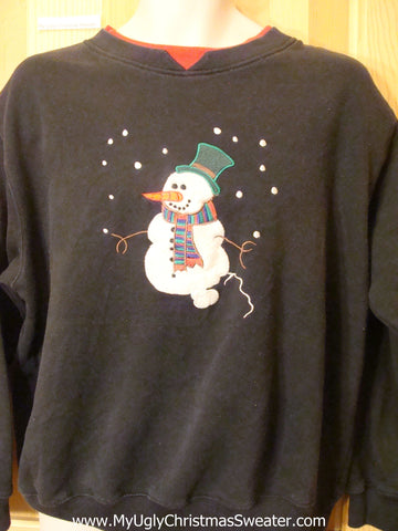 Tacky Cheap Christmas Sweatshirt with Snowman