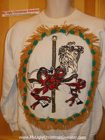 Ugly Christmas Tacky Sweatshirt Carnival Ride Horse with Fringe (q25)