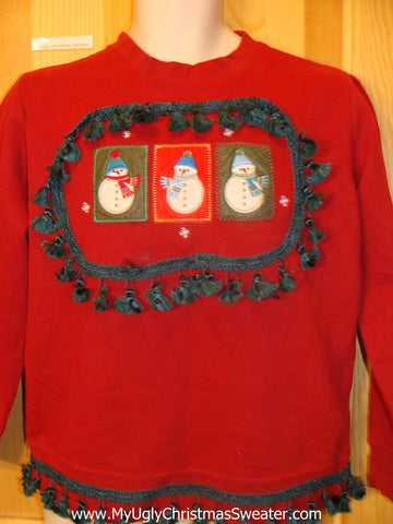 Tacky Christmas Sweatshirt Santa Trio