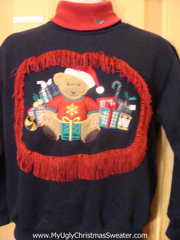 Tacky Christmas Sweatshirt Happy Santa Bear