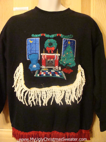 Tacky Christmas Sweatshirt Fireplace and Stockings