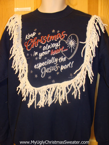 Tacky Christmas Sweatshirt Jesus Religious Saying