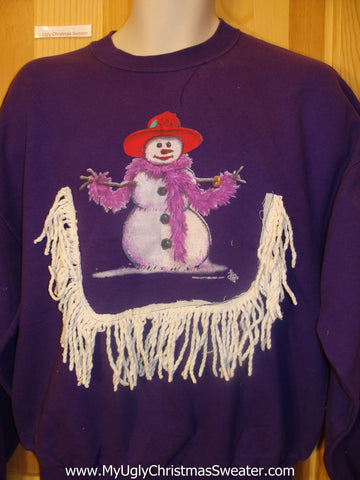 Red Hat Society Tacky Christmas Sweatshirt Snowman with a Boa