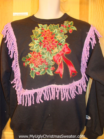 Tacky Christmas Sweatshirt Red Poinsettias with Bow