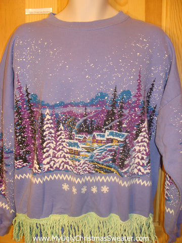 Tacky Christmas Sweatshirt Purple 2sided Winter Wonderland