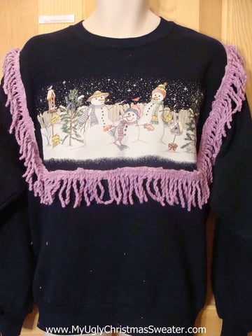 Tacky Christmas Sweatshirt Snowman Party