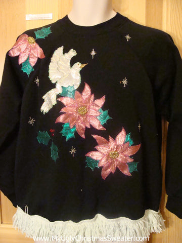 Homemade Tacky Christmas Sweatshirt Poinsettias and Bird