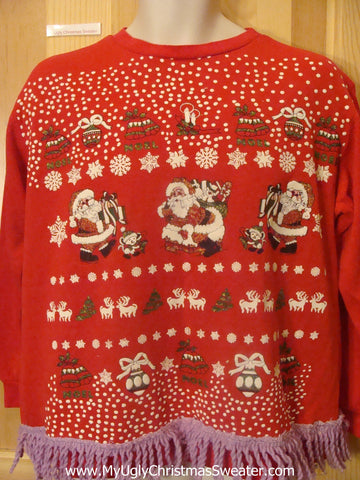 Tacky Christmas Sweatshirt 80s with Santa and Kissing Moose Couples