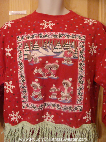 Vintage 80s Red Tacky Christmas Sweatshirt Skating Bears