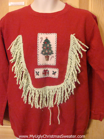 Cheap Tacky Christmas Sweatshirt with Drippy Fringe