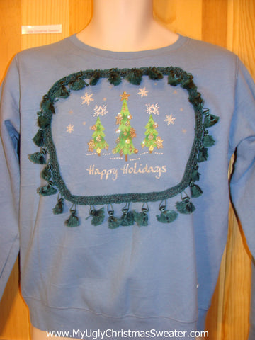 Tacky Christmas Sweatshirt Happy Holidays with Tassels