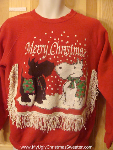 Kissing Dogs Tacky Christmas Sweatshirt