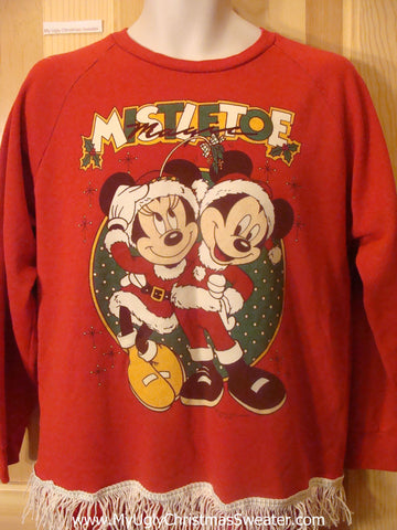 Minnie and Micky Mouse Tacky Christmas Sweatshirt