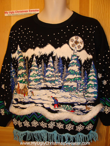 Ugly Christmas Tacky Sweatshirt Winter Wonderland 80's with Bling & Fringe (q28)