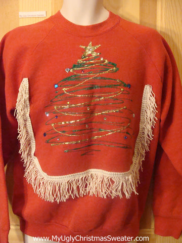 Tacky Christmas Sweatshirt Glittery Tree