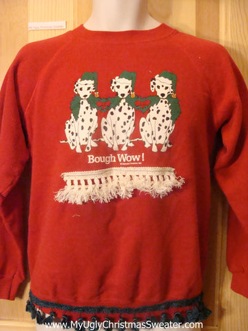 Tacky Christmas Sweatshirt Dalmation Dogs Bough Wow