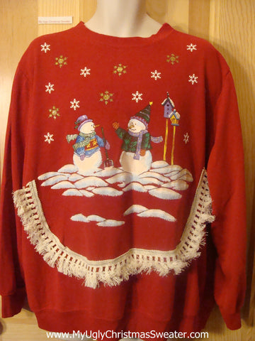 Tacky Christmas Sweatshirt Snowman Couple with Birdhouses