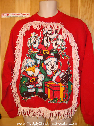 Ugly Christmas Tacky Sweatshirt Mickey Donald Goofy Disney with Fringe (q2)