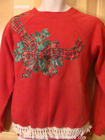 Cheap Homemade Tacky Christmas Sweatshirt with Plaid Bow