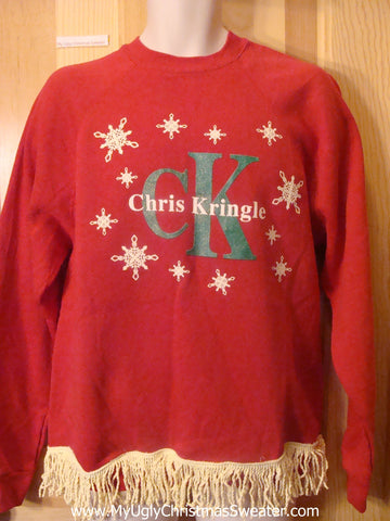 CK Chris Kringle Red Tacky Christmas Sweatshirt