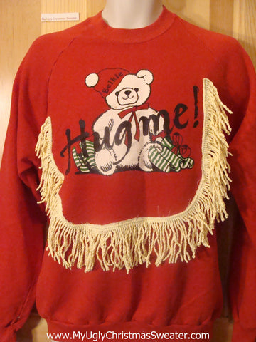 Tacky Christmas Sweatshirt Bear Saying HUG ME