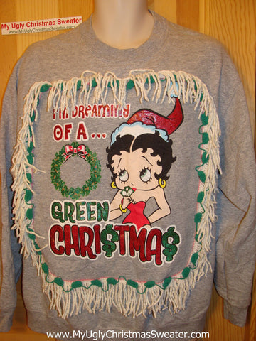 Betty Boop Ugly Christmas Tacky Sweatshirt with Fringe (q30)