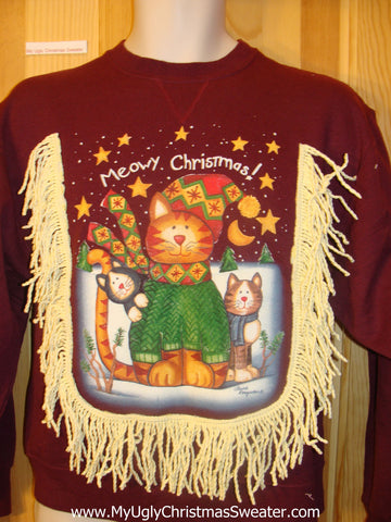 Crazy Cat Lady Tacky Sweatshirt MEOUY CHRISTMAS