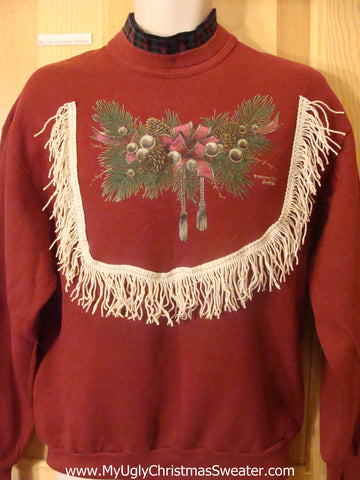 Cheap Red Tacky Christmas Sweatshirt with Ivy Sprigs
