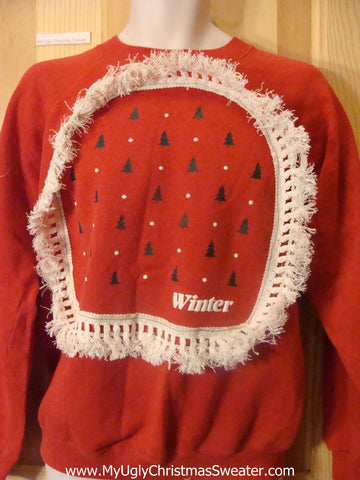 WINTER Themed Red Tacky Christmas Sweatshirt