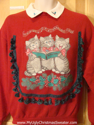 Cat Trio Singing Carols 80s Tacky Christmas Sweatshirt