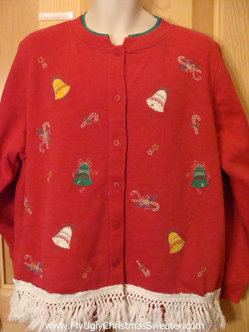 Cardigan Red Tacky Christmas Sweatshirt with Fringe