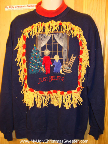 "Ugly Christmas Tacky Sweatshirt ""Just Believe""  with Fringe (q31)"