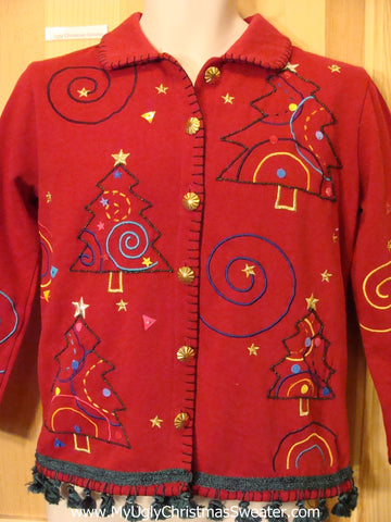 Tacky Christmas Sweatshirt Geometric Swirls with Stars