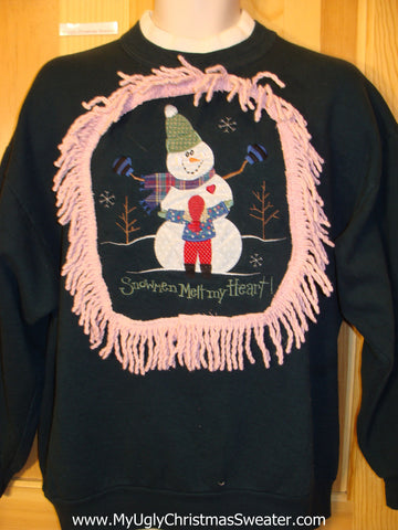 Snowmen Melt My Heart Tacky Christmas Sweatshirt