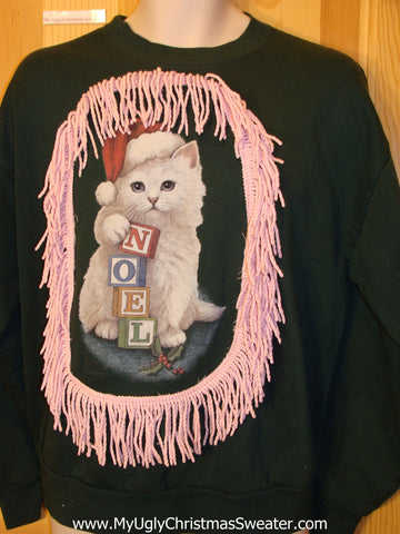 Cat with NOEL Tacky Christmas Sweatshirt Pink Fringe