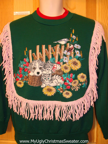 Tacky Christmas Sweatshirt 80s Dog Kittens in a Basket