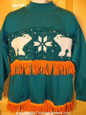 Tacky Christmas Sweatshirt Dueling Bears